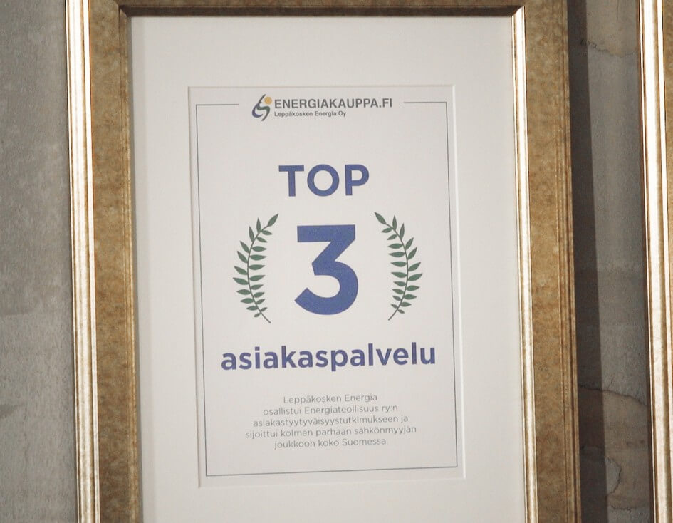 Energiakauppa.fi:llä on Top 3 asiakaspalvelu taulu